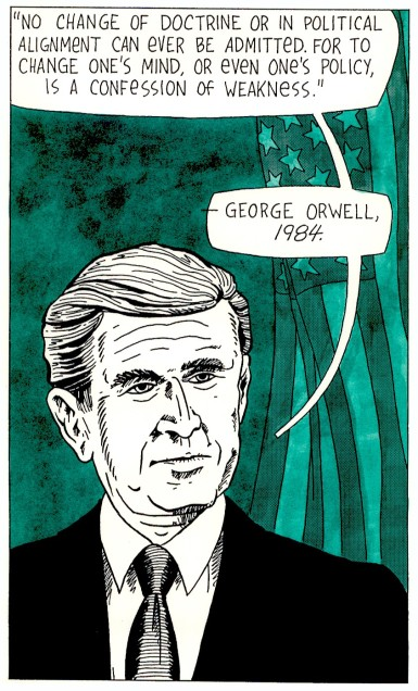 """""""Portrait of a President"""" Ink on paper, 2004."""