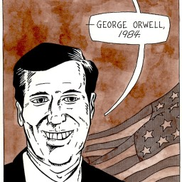 """""""Portrait of a Senator from the state of Pennsylvania"""" Ink on paper, 2004."""