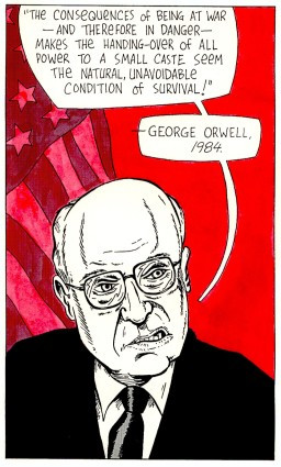 """""""Portrait of a Vice President"""" Ink on paper, 2004."""