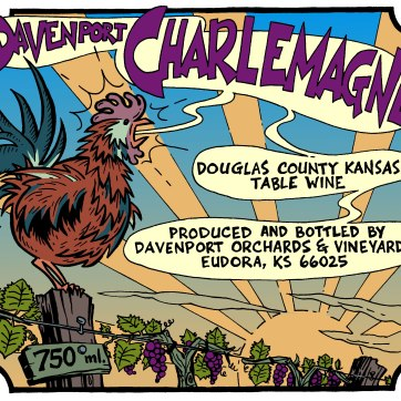 Wine label for Davenport Orchards & Vineyards. Ink drawing and hand lettering with digital color, 2004.