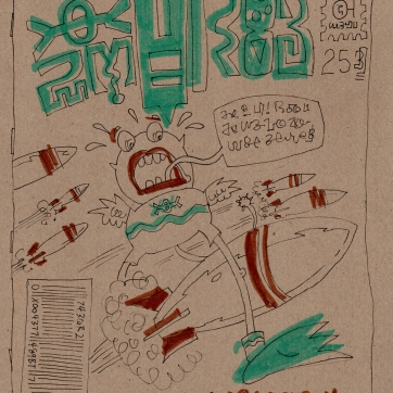 """Drink & draw challenge: """"draw a foreign comic book cover"""". Marker on board, 2007."""