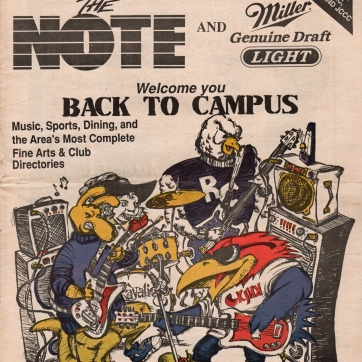 Cover artwork, Fall 1991. Ink drawing, 1991 (newspaper tearsheet pictured).