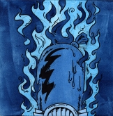 """""""I am curious (blue)"""". Acrylic on panel, 12""""x12"""", 2008."""