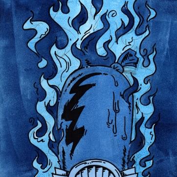 """""""I am curious (blue)"""". Acrylic on panel, 12"""" x 12"""", 2008."""