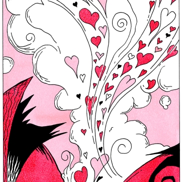 """""""The one"""". Ink drawing with digital color, 2005."""