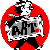 Logo for Lawrence ArtWalk, an annual tour of artists' studios. Ink drawing and digital coloring, 2004.