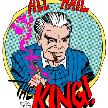 """""""All hail the King!"""". Ink drawing with digital color, 2015."""