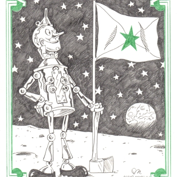 """""""Tin man on the moon."""" Graphite on paper, 10"""" x 8″, 2019."""