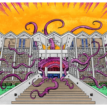 """""""Rust Hall, monsterized"""". Ink drawing with digital color, 2019."""